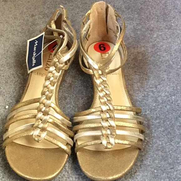 0baafe8813f8 Gold and silver metallic Gladiator sandals